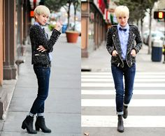 Androgynous Women S Fashion With Button Down Shirt And Bowtie