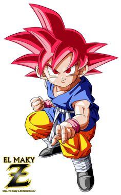 Kid Goku GT Super Saiyan God by el-maky-z on DeviantArt Dragon Ball Gt, Goku Dragon, Manga Dragon, Otaku Anime, Akira, Kid Goku, Goku Ssjg, Mickey Mouse Cartoon, Goku Super