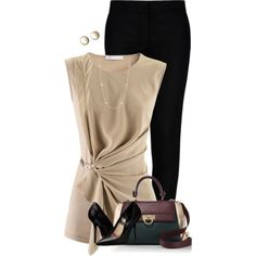 Black & Tan for the Office by houston555-396 on Polyvore featuring moda, FABIANA FILIPPI, STELLA McCARTNEY, Burberry, Salvatore Ferragamo and Kendra Scott
