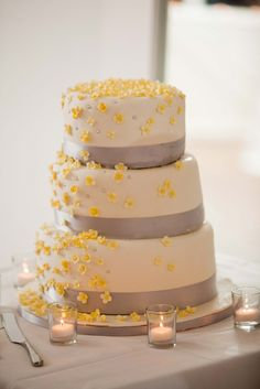70 grey and yellow wedding ideas for spring and summer weddings yellow and silver wedding cake photo arlene chambers photography junglespirit Choice Image