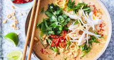Two of your favourite Asian dishes, chicken satay and noodle soup, come together in this quick and delicious meal.