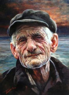 Artist: Gianni Strino, Title: The Life of a Sailor Watercolor Portraits, Watercolor Paintings, Old Man Face, L'art Du Portrait, Hyper Realistic Paintings, Old Faces, Artwork Display, Italian Painters, Face Art