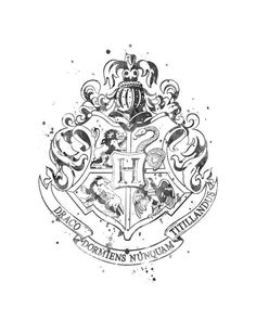 Hogwarts Crest Black and White Watercolor Movie Poster Harry