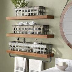 Chic 3 Piece Iron Open Weave Basket Set by Laurel Foundry Modern Farmhouse top rated furniture sale from top store Toilet Storage, Bathroom Storage, Bathroom Shelves, Bathroom Ideas, Storage Containers, Storage Baskets, Shoe Storage, Pan Storage, Open Shelving