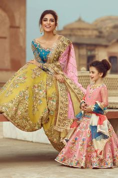 Pale Yellow and Firozi Wedding Lehenga – Panache Haute Couture Party Wear Indian Dresses, Pakistani Fashion Party Wear, Pakistani Wedding Outfits, Pakistani Dresses Casual, Designer Party Wear Dresses, Indian Bridal Outfits, Pakistani Bridal Dresses, Dress Indian Style, Pakistani Wedding Dresses