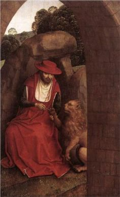 """St Jerome Aiding the Lion"" by Hans Memling (c. 1485-1490) Private Collection"