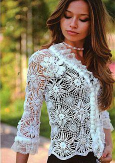 Zhurnal Mod # 558 Crochet patterns for jackets, Irish lace dress, top, skirt, cardigan Cardigan Au Crochet, Crochet Coat, Crochet Jacket, Crochet Cardigan, Crochet Clothes, Yellow Evening Gown, Pull Crochet, Irish Lace, Jacket Pattern