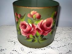 Vintage Hand Painted Country Cottage Pink Roses Green Meatl Tole Caddy / Planter