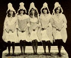 "The Barrison Sisters c. 1890s.  ""In their most famous act, the sisters would dance, raising their skirts slightly above their knees, and ask the audience, ""Would you like to see my pussy?"" When they had coaxed the audience into an enthusiastic response, they would raise up their skirts, revealing that each sister was wearing underwear of their own manufacture that had a live kitten secured over the crotch."" - From Wikipedia"