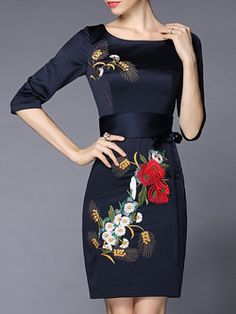 Crew Neck Embroidered Half Sleeve Floral Vintage Midi Dress -- Love the ide, but not this cheap dress