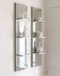 mirror decor Mirrored Shelf Wall Panel - antiqued, beveled galss is framed in silver finished wood. Mirrored Furniture, Wall Mirror With Shelf, Wall Paneling, Home, Interior, Shelves, Wall Shelves, Mirror With Shelf, Home Furnishings
