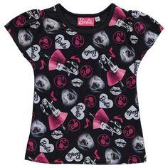 Girls Kids Childrens Black Barbie Short Sleeve Tee Shirt T-Shirt Top Barbie, Blouse, Tops, Women, Fashion, Moda, Fashion Styles, Blouses, Fashion Illustrations
