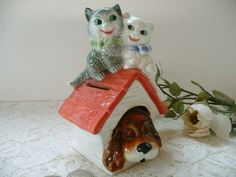 Darling Vintage Goebel Dog House And Kitty Cats Coin Bank With Original Stopper by MossyCottage on Etsy
