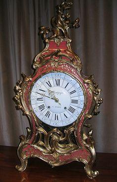 Rare, Mid-to-Late 18th Century Antique French Rococo Lacquer & Ormolu Clock