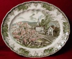 Johnson Brothers China Friendly Village pttrn Oval Meat Serving Platter 11 3 4"