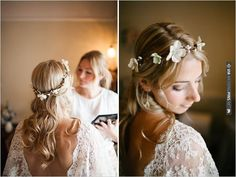 flower halo with hair down | CHECK OUT MORE IDEAS AT WEDDINGPINS.NET | #weddinghair