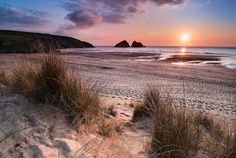 Inch Print (other products available) - Sunset at Holywell Bay near Newquay in northern Cornwall, UK. - Image supplied by Fine Art Storehouse - Inch Photograph printed in the UK Cornwall House, Devon And Cornwall, Landscape Photography, Nature Photography, Travel Photography, Cornish Beaches, Cornwall Beaches, Newquay Cornwall, Holidays In Cornwall