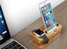 Iphone Dock Apple Watch and Phone Stand Wood Display Cradle Cable Charger hold | eBay