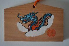 Japanese ema, hand painted  or screen printed wood #75