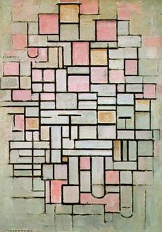 Piet Mondrian - Composition number 6, 1914; studi che Mondrian fece sulle facciate delle chiese a Parigi.