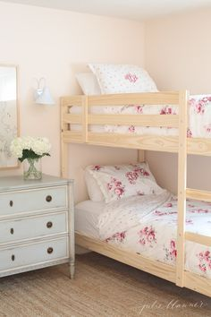 pretty pastel girls bunk bedroom at our lake cottage