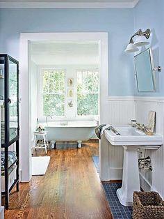 Hardwood floors + wainscoting + tilted mirror.
