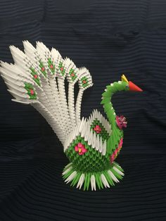 3D origami peacock