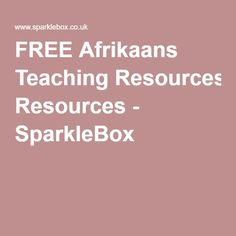 FREE Afrikaans Teaching Resources - SparkleBox