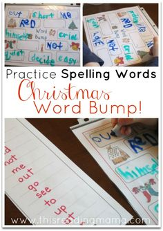 Practice Spelling Words with Christmas Word Bump {free printable game that works with any spelling list} | This Reading Mama