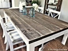 DIY table with 2x8 boards (4.75 each for $31.00) from Lowes This is the coolest website! If you love Pottery Barn but cant spend the money, this website will give you tons of inspiration..this is my new kitchen set