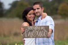 see you in Mexico sign or destination wedding sign for engagement photo prop