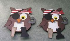 Pirate Owl Cards Great idea if we read a pirate story! Make this owl and write summary of story for classroom display reading comprehension. Pirate Day, Pirate Theme, Punch Art, Crafts For Kids, Arts And Crafts, Paper Crafts, Preschool Crafts, Cool Diy Projects, Craft Projects