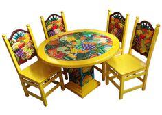 Comedor con frutas. Descripción Diseño: Comedor con frutas Color: Amarillo Asiento: Tejido de tule Mesa: Redonda  4 Personas