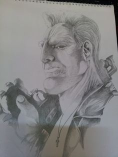 Marv from Sin City done with pencil