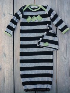 Baby boy clothes.  Black/ gray stripes with green trim.  (size newborn gown and hat set)   -READY TO SHIP-   (Made by lippy brand). $78.00, via Etsy.