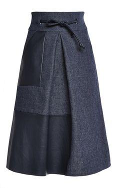 Medium martin grant navy high waisted skirt with leather inlay