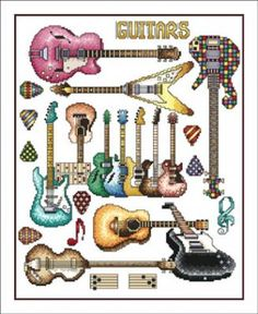 Guitars is the title of this cross stitch pattern from The Vickery Collection.