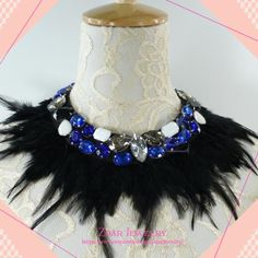 Feather collar Necklace, Statement Necklace, Bib Necklace, Bridesmaids Necklace, Fashion Party Necklace