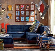 Cute and Colorful Little Boy Bedroom Ideas: Skateboarding Themed Boys Room Blue Lounge ~ Kids Bedroom Inspiration Little Boy Bedroom Ideas, Cool Bedrooms For Boys, Boys Bedroom Themes, Boy Rooms, Teen Bedroom, Kids Rooms, Blue Lounge, Teen Lounge, Boys Room Design