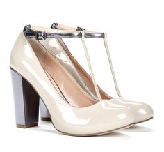 Round toe t-strap pump with block heel and ankle strap in French Taupe Pewter.