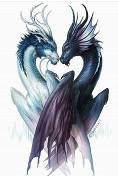 Dragons of Yin and Yang - Signed Fine Art Print - Wall Decor - Fantasy Artwork P. - Dragons of Yin and Yang – Signed Fine Art Print – Wall Decor – Fantasy Artwork Poster – Pai - Fantasy Artwork, Dragon Tattoo Designs, Dragon Tattoos, Dragon Yin Yang Tattoo, Dragon Tattoo With Wings, Dragon Artwork, Dragon Pictures, Pictures Of Dragons, Mythical Creatures Art