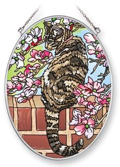 Amia Suncatcher Featuring a Cat Design, Hand Painted Glass, 7-Inch by 5-1/4-Inch Oval by Amia. $19.00. Comes boxed, makes for a great gift as well. Handpainted glass. Includes chain. Enjoy this beautiful, handpainted glass suncatcher by Amia. Includes chain for hanging purposes.