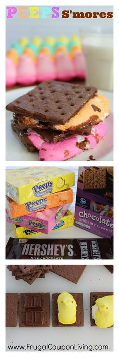 Peeps S'Mores Recipe - Made in the microwave and super easy. They look very yummy too!