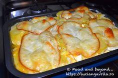 """Gratin de pomme de terre au fromage sau, pe românește, """"cartofi franțuzești"""" Meatless Recipes, Chorizo, Chicken, Food, Baked Potato With Cheese, Gratin, Eten, Meals"""