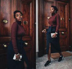 Remi Afolabi - La Redoute Roll Neck Jumper, Zara Belted Split Midi Skirt, Nike Sneakers, Timex Watch - Juxtaposition
