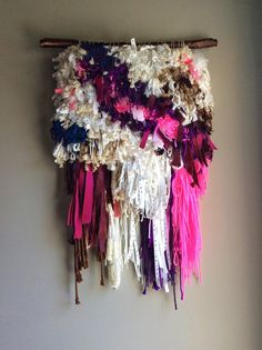 Woven wall hanging / Furry Memories // Handwoven by jujujust