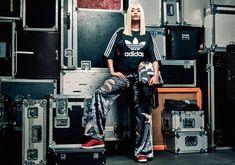 Rita Ora x adidas Originals Kimono Sweatshirt, Kimono Print Track Pants and Stan Smith Sneakers