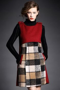 Sleeveless Wool Dress A-Line Open Back Design With Pockets Neckline: Round Pattern: Plaid Print Sleeve: Sleeveless Length: Abov Versace, Daytime Dresses, Wool Dress, High Neck Dress, Neckline, Dresses For Work, Plaid, Sleeves, Pattern