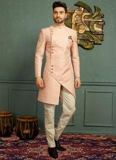 Buy Royal Pink Asymmetrical Indo Western Sherwani Online from Bodylinestore at best price. Select wide range of men's wedding sherwani, designer Sherwani for groom, traditional sherwani, jodhpuri Sherwani, sangeet sherwani and more. Sherwani For Men Wedding, Wedding Dress Men, Wedding Men, Wedding Suits, Sherwani Groom, Trendy Wedding, Sherwani For Boys, Blazer For Men Wedding, Punjabi Wedding