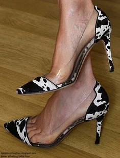 339ce125a6a9 Fashion forward  Meghan Markle s Ginavito Rossi  Plexi  pumps feature a cow  print and a clear PVC lining around part of the foot